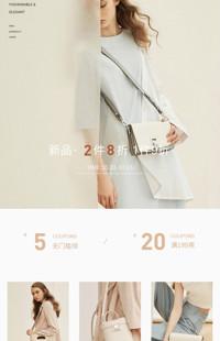 [B1784] 简约棕色时尚风格-女包、女鞋等行业-手淘模板